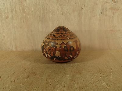 Hand Carved Hand Painted Peruvian Gourd w Lama and Natives w Seeds Inside Music
