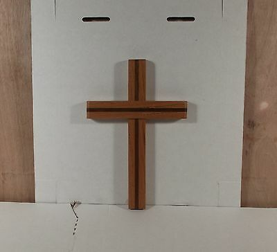 "Beautiful Oak Wooden Crucifix Cross w Dark Inset 7 1/2"" x 8"" High Walll Hanging"