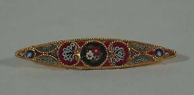 """Floral Micro-Mosaic Oval Gold Tone Bar Brooch Pin w C-clasp 2"""" Long"""