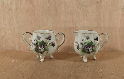 Small Footed Cream & Sugar Bowl w Sweet Violets Flowers w Gold Overlay Trim