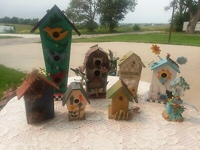 Collection of Eight (8) Vintage Decorative BIRD HOUSES