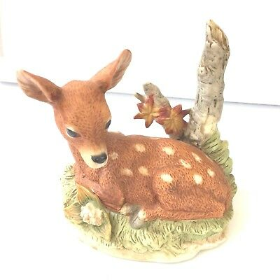 Vintage Sweet Ceramic Fawn Sleeping In The Woods