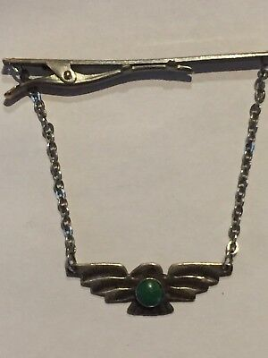 Vtg Old Pawn Fred Harvey Sterling Silver Green Turquoise Thunderbird Tie Clip