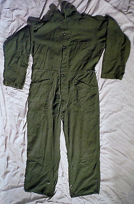 Vintage Us Army 1986 Mens Olive Green Sateen Type 1 Cotton Coverall Large  Q