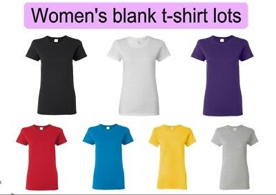 Wholesale Lot of 36 Women's blank gildan t-shirts. Available in various colors.