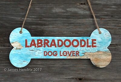 Labradoodle  Aluminum Dog Bone Sign