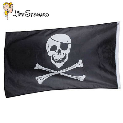 Crossbones Jolly Roger Pirate Flag Polyester Skull Decor Grommets Banner 3x5ft
