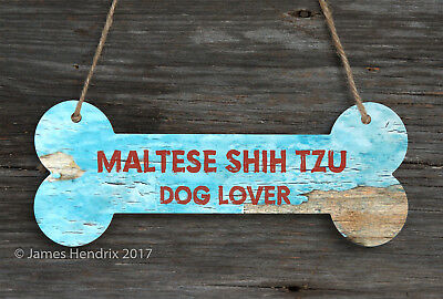 Maltese  Aluminum Dog Bone Sign