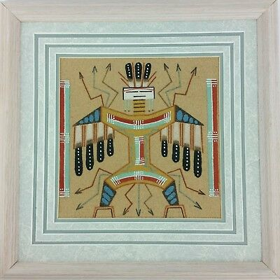 "Navajo Native American Sand Painting by R. Tom 13""x13"""