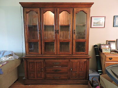 Hutch Old English Oak Pre-1950 Solid Wood    (will help with local delivery)