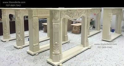Natural Stone Fireplace Mantel, Surround Mantle, Marble Hearth Hand Carved