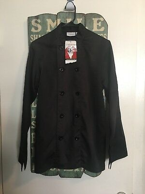 Nwt Chef Works Ladies L/s Executive Chef Jacket Size Xs Black Restaurant Cook