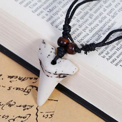 Shark Tooth Stone Pendant Adjustable Black Cord Necklace