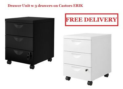 IKEA ERIK Filing/documents 3 Drawers/Cabinet Unit on castors Lock Drawer Office