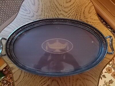 Antique Edwardian Silverplate Inlaid Mahogany Inlaid Tray