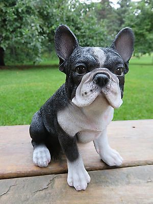 "French Bulldog Puppy Dog Figurine Sits Statue Resin Pet 7"" H Black Ornament"