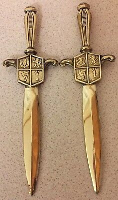 Two Vintage Sword Letter Mail Openers Collectable