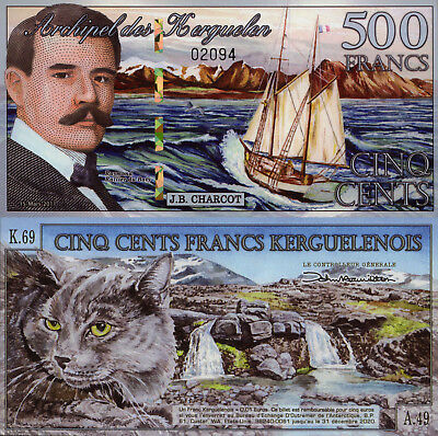 Kerguelen Islands 500 Francs (2010) - Cat/Waterfall