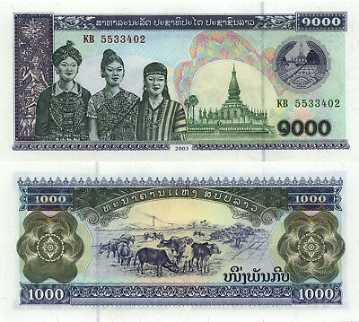 Laos 1000 Kip (2003) - Women/Temple/Oxen/p32 UNC