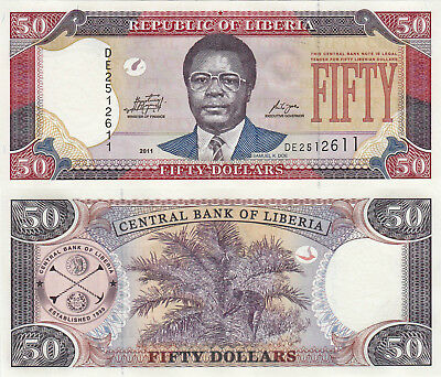 Liberia 50 Dollars (2011) - Samuel Doe/Palm Nuts/p29e UNC