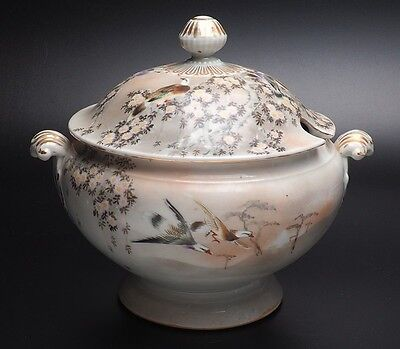 Antique Tureen Gold Trim And Bird Motif