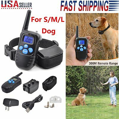 Rechargeable Remote LED 100LV Electric Shock Vibrate Dog Training Collar 330Yard