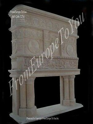 Monumental Castle Size Hand Carved Marble Fireplace