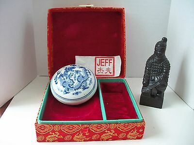Chinese Carved Stone Chop Stamp Warrior with name Jeff in silk box