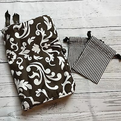 Thirty One Parisian Pop Jewelry Keeper Travel Pouch Brown