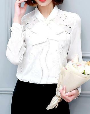 Bow Long Sleeve Slim Women Blouse Sweet Girls Embroidery Shirt Tops New