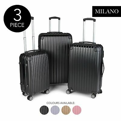 Milano Premium 3pc ABS Luggage Suitcase Luxury Hard Case Shockproof Travel Set