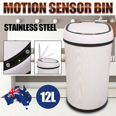 New 12L Stainless Steel Automatic Motion Sensor Rubbish Bin Kitchen Trash Waste