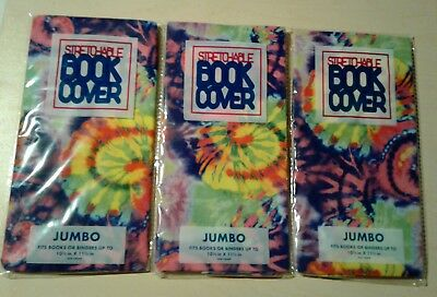 3 JUMBO Stretchable Fabric Book Covers - Tie Died Multi Color - New