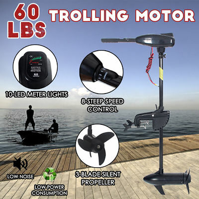 60LBS 12V Electric Trolling Outboard Motor Engine Inflatable Boat Fishing Marine
