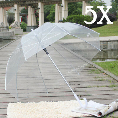 5x Clear Transparent Rain Walking Umbrella Parasol PVC Dome Wedding Party Favor