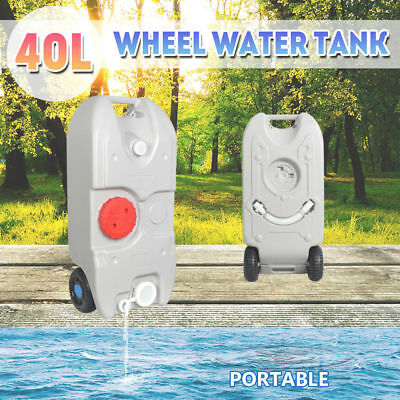 40L Wheel Water Tank Camping Motorhome Caravan Storage Waste Transport Portable