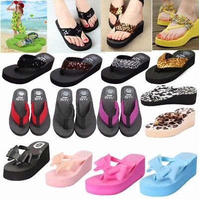 Women Summer Slippers Ladies Thick Beach Flip Flops Wedge Bottom Sandals Shoes
