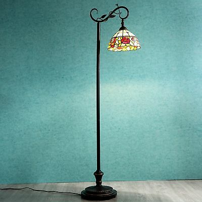 Tiffany Style Arched Floor Lamp Victorian Rose Stained Glass Home Decor Lighting