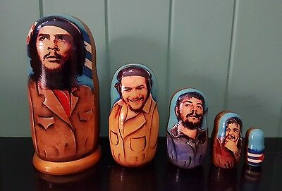 NEW 5 in 1 NOVELTY CHE GUEVARA WOODEN BABUSHKA DOLLS