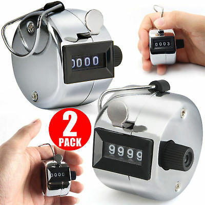 2PCS 4 Digit Number Manual Handheld Tally Mechanical Clicker Golf Hand Counter