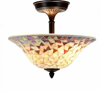 Tiffany Style Lamp Ceiling Venetian Amber Mosaic Stained Glass Mount Lighting