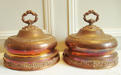 SUPERB PAIR ANTIQUE FRENCH COPPER FOOD DOMES CLOCHE 19thC COVERS CUIVRE ANCIEN