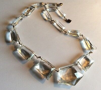 Vintage Art Deco clear faceted glass necklace on gold-tone wire