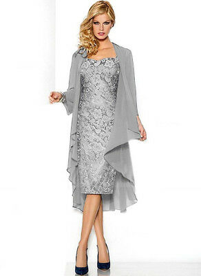 Silver Mother of the Bride Formal Evening Dress & free Chiffon Jacket Size 6-20