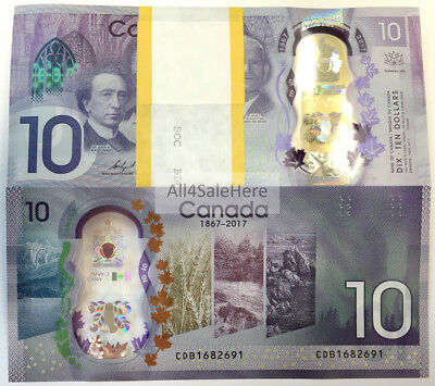 2017 Bank of Canada $10 150 Anniversary Commemorative Polymer Banknote Bill UNC