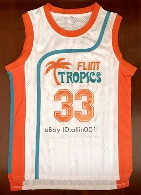 Jackie Moon #33 Flint Tropics Semi Pro Movie Basketball Jersey White