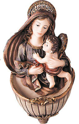 Madonna & Child Our Lady Jesus Holy Water Font - Statues Pictures Candles Listed