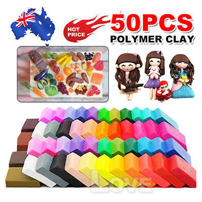 50PCS DIY Craft Malleable Fimo Polymer Modelling Soft Clay Block Set Toy +Tools