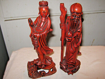 "VINTAGE/ANTIQUE HAND CARVED CHINESE MAN And WOMAN FIGURES-8"" & 8 1/4""-ROSEWOOD"