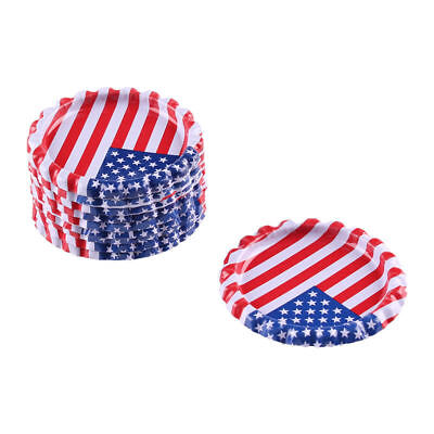 """10pcs USA Flag Flat Double Sided Colored 1"""" Bottle Caps Hair Bow DIY Crafts"""